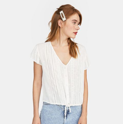 Clothing, White, Shoulder, Neck, Sleeve, Waist, Shorts, Denim, Joint, Top,