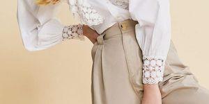 camisa blanca mujer volantes crochet barata stradivarius