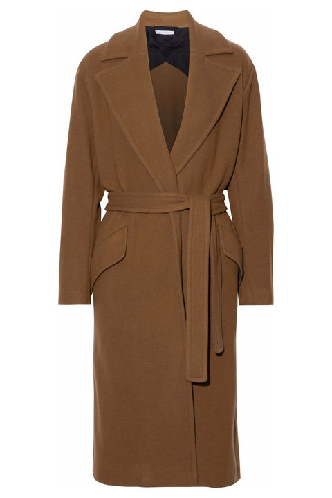 Clothing, Coat, Outerwear, Overcoat, Trench coat, Robe, Brown, Sleeve, Beige, Duster,