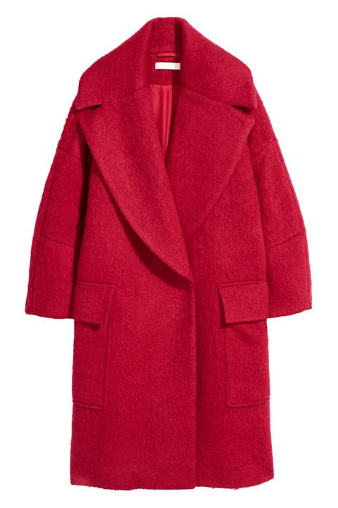 Clothing, Coat, Outerwear, Red, Overcoat, Sleeve, Trench coat, Robe, Collar, Magenta,
