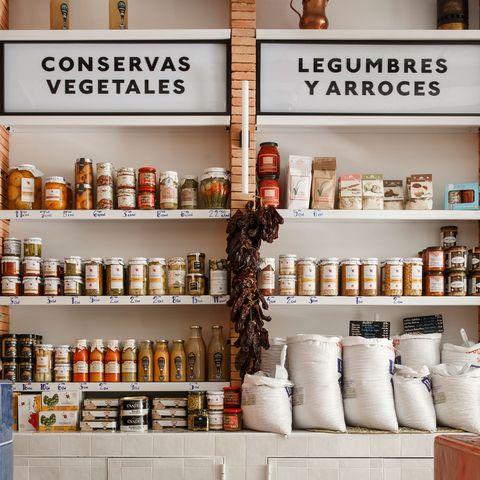 Product, Shelf, Building, Furniture, Glass bottle, Room, Shelving, Mason jar, Pantry, Retail,