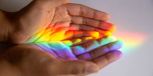 Rainbow reflected human hands
