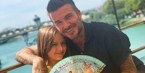 David Beckham con su hija Harper Seven en Sevilla