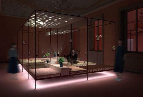 Light, Architecture, Interior design, Building, Lighting, Room, Glass, Ceiling, House, Design,