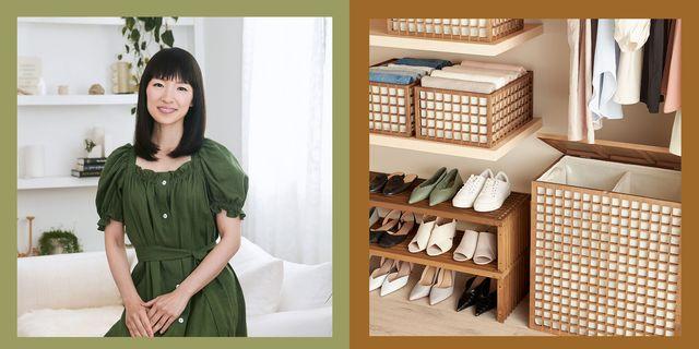 marie kondo and closet organized with storage bins and shoe rack
