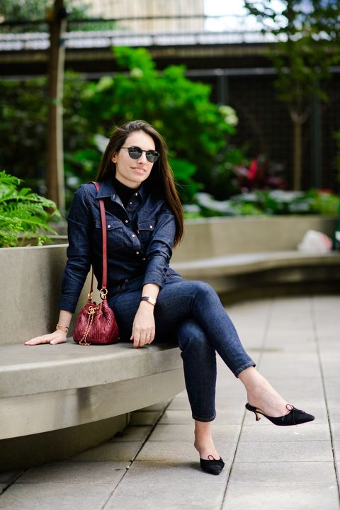 Clothing, Street fashion, Jeans, Footwear, Beauty, Sitting, Pink, Leg, Fashion, Lip,