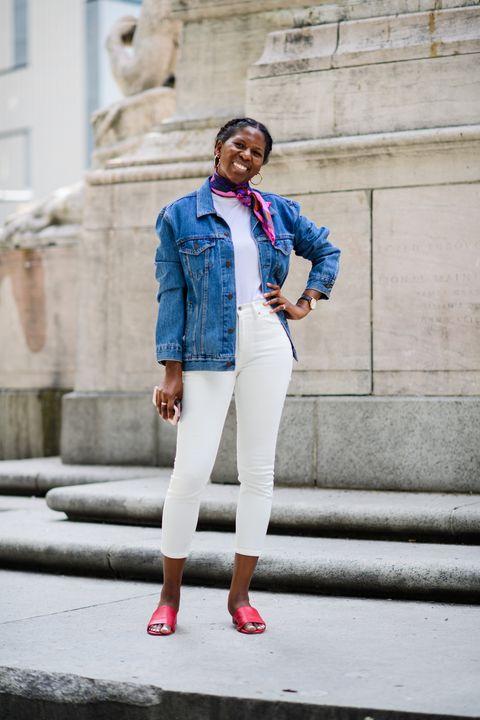 White, Denim, Blue, Clothing, Street fashion, Jeans, Fashion, Red, Jacket, Electric blue,