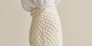 falda larga crochet flecos blanca massimo dutti