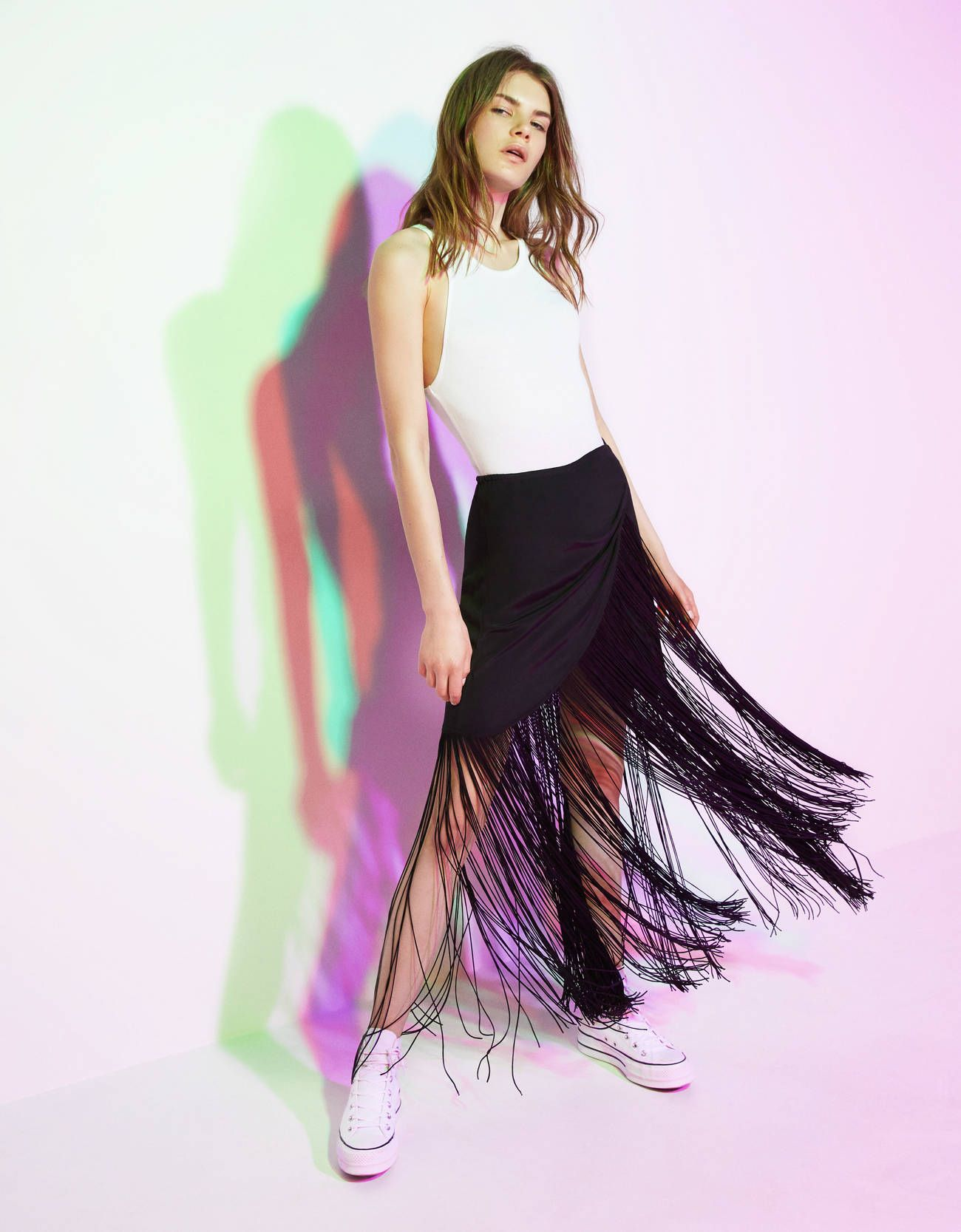 7d748e41ed Esta falda larga de Bershka de estilo pareo con flecos es maravillosa