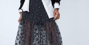 falda larga bordada organza barata zara
