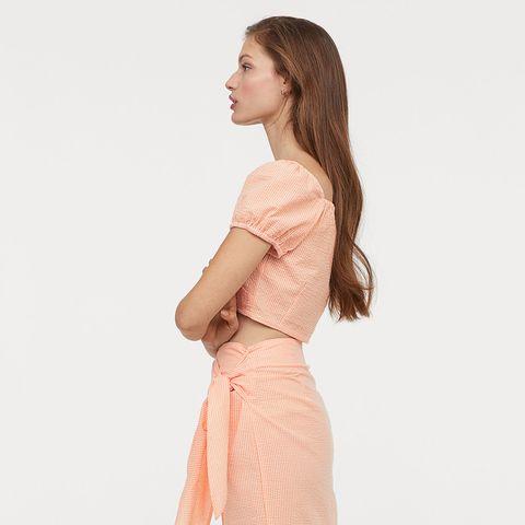 Clothing, Dress, Pink, Shoulder, Beige, Neck, Waist, Peach, Day dress, Sleeve,