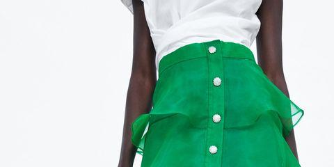 aac05847c falda larga verde volantes barata zara fiesta invitada