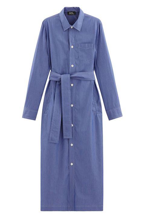 Clothing, Blue, Sleeve, Outerwear, Dress, Robe, Trench coat, Coat, Day dress, Denim,