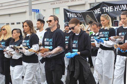 Joaquin Phoenix and Rooney Mara Vegan Animals Demonstration