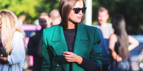 Eyewear, Street fashion, Green, Fashion, Blazer, Suit, Sunglasses, Outerwear, Formal wear, Pink,