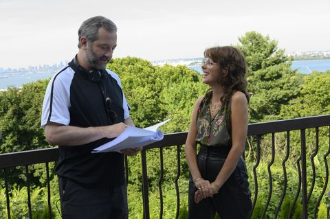 from left director judd apatow with marisa tomei on the set of the king of staten island