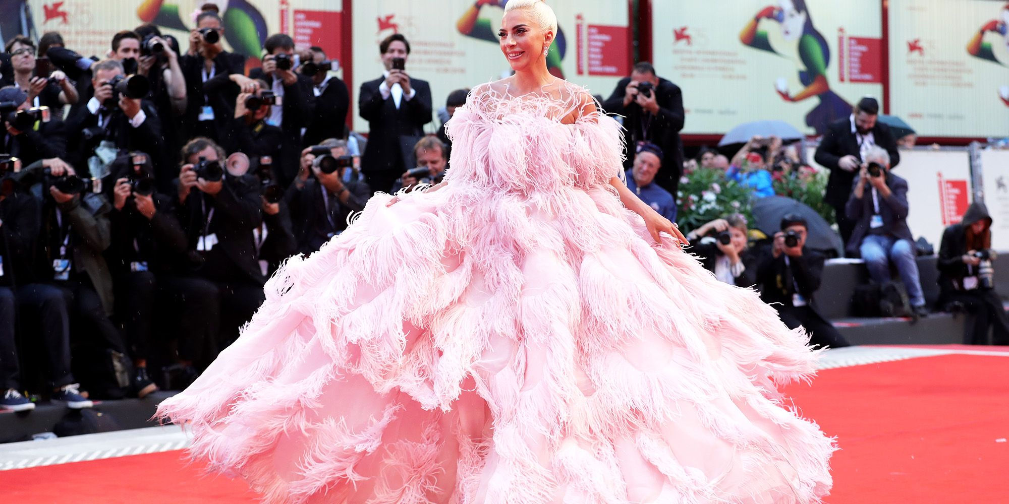 86f2151392d4 Lady Gaga Wears Giant Pink Gown to Venice Film Festival's A Star Is Born  Premiere