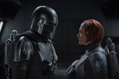the mandalorian pedro pascal and bo katan kryze katee sackoff in lucasfilm's the mandalorian, season two, exclusively on disney © 2020 lucasfilm ltd  ™ all rights reserved