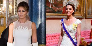 Kate Middleton con vestido blanco de Alexander McQueen en la cena de gala en honor del presidente de Estados Unidos en el Palacio de Buckingham