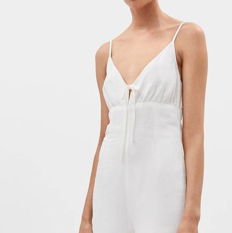 Clothing, White, Dress, Shoulder, Neck, Footwear, One-piece garment, Fashion model, Waist, Shoe,