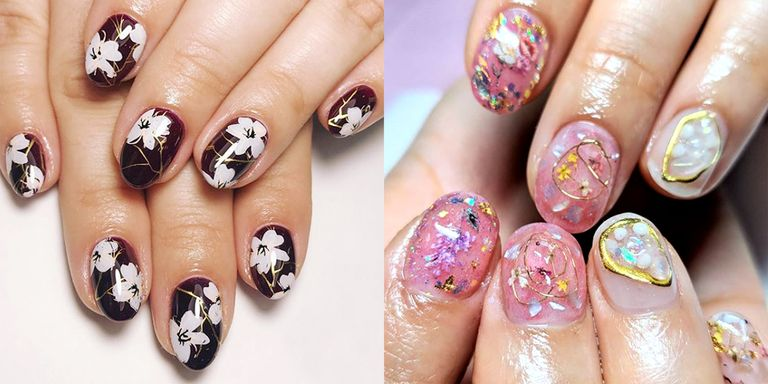 You deserve a bouquet of flowers daily. May we suggest 10 blooms? Perhaps  on your nail beds? Ahead, 12 floral nail designs to kickstart spring. - 11 Fun Spring Floral Nail Designs - The Best Flower Designs For