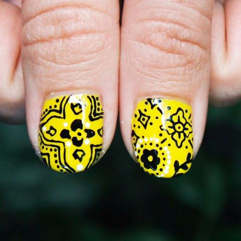Nail, Nail polish, Yellow, Finger, Nail care, Manicure, Cosmetics, Hand, Material property, Font,