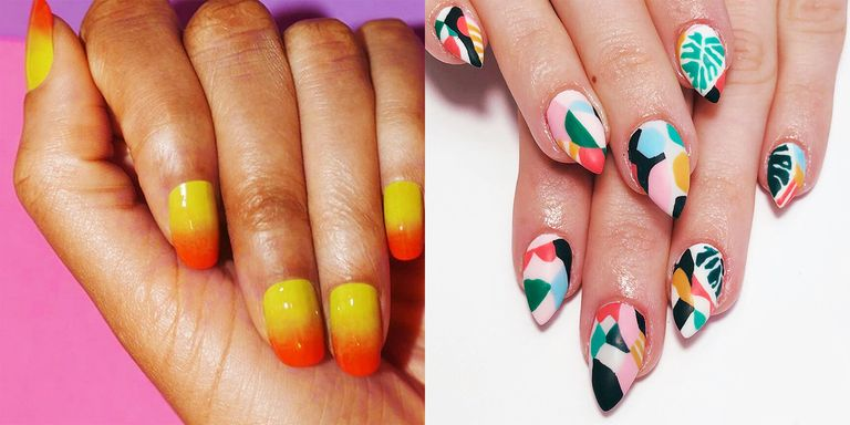 From an asymmetrical French to emoji mood nails, glitter accents to bandana  basics, summer '18 nails are well, not at all understated. Here, art  inspiration ... - 20 Cool Summer Nail Art Designs - Easy Summer Manicure Ideas