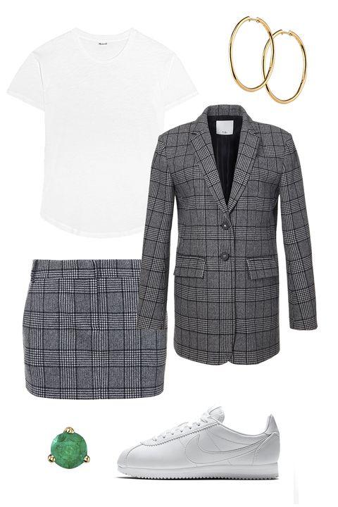 White, Clothing, Green, Plaid, Tartan, Sleeve, Pattern, Footwear, Outerwear, Design,