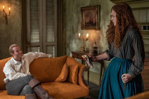 outlander season 5 episode 10 ed speleers as stephen bonnet and sophie skelton as brianna mackenzie