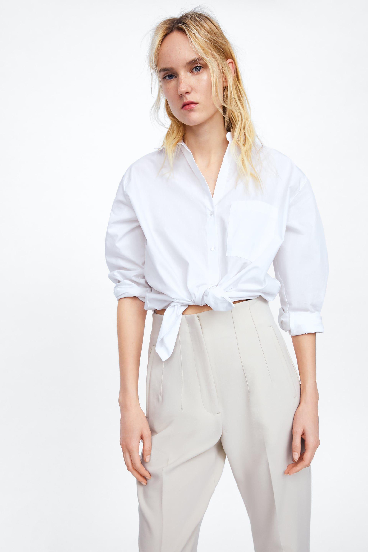 zara pantalones blancos de vestir