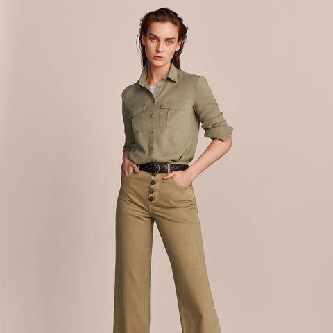 Clothing, Khaki, Standing, Waist, Sleeve, Beige, Collar, Trousers, Pocket, Jeans,