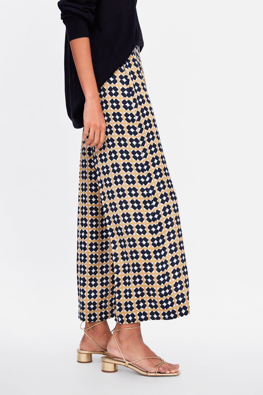 Pantalon Zara Vestir Estampado Geometrico