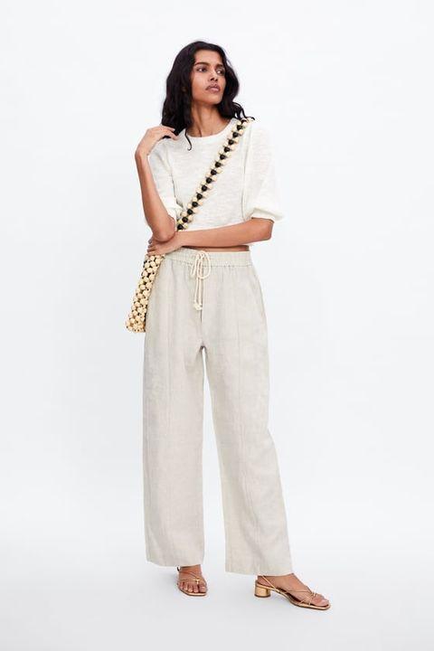 Estos 8 Pantalones Palazzo Rectos Y Crop De Zara Te Quedaran Mejor Con Sandalias Planas