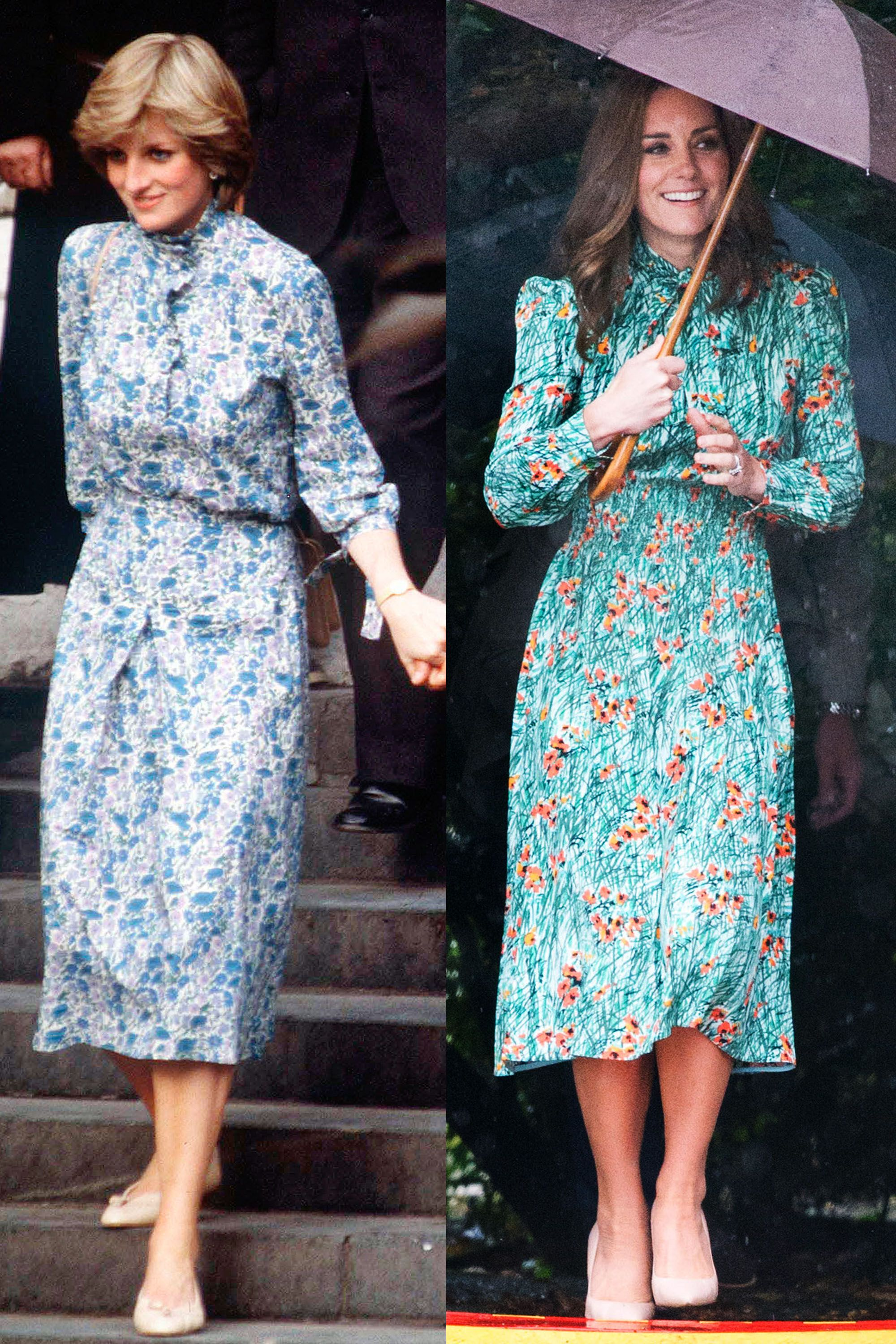 Princess Diana in blue floral dress in 1981; Kate Middleton in green floral dress in 2017