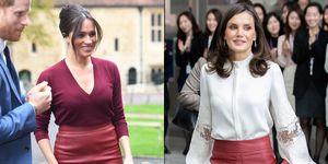 reina Letizia Meghan Markle misma falda cuero Hugo Boss