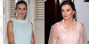 reina Letizia vestido rosa palo Maje verde menta Nina Ricci