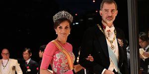reina Letizia vestido rosa Carolina Herrera cena gala Japón
