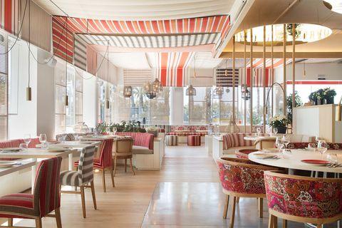 Restaurant, Room, Interior design, Building, Furniture, Dining room, Table, Ceiling, Architecture, Cafeteria,