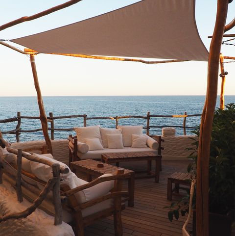 Shade, Furniture, Sea, Vacation, Outdoor furniture, Deck,