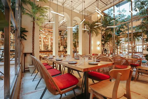 Restaurant, Building, Interior design, Room, Table, Furniture, Architecture, Tree, Real estate, Cafeteria,