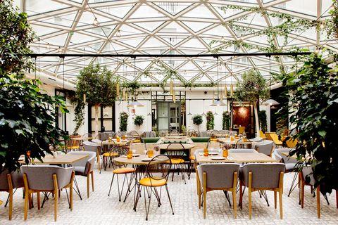 Restaurant, Building, Interior design, Furniture, Table, Room, Cafeteria, Architecture, Real estate, Patio,