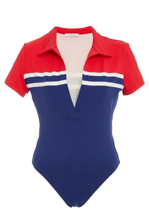 Clothing, White, Blue, Product, Red, Sleeve, One-piece swimsuit, Maillot, Electric blue, T-shirt,