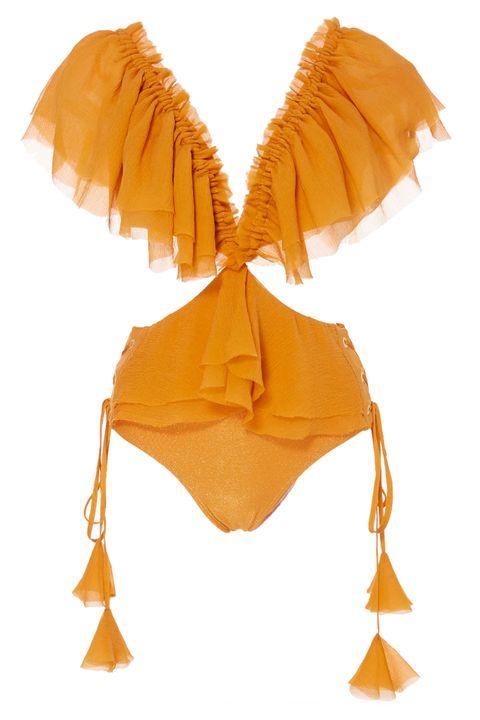 Swimsuit top, Clothing, Yellow, Orange, Bikini, Swimwear, Fashion accessory,