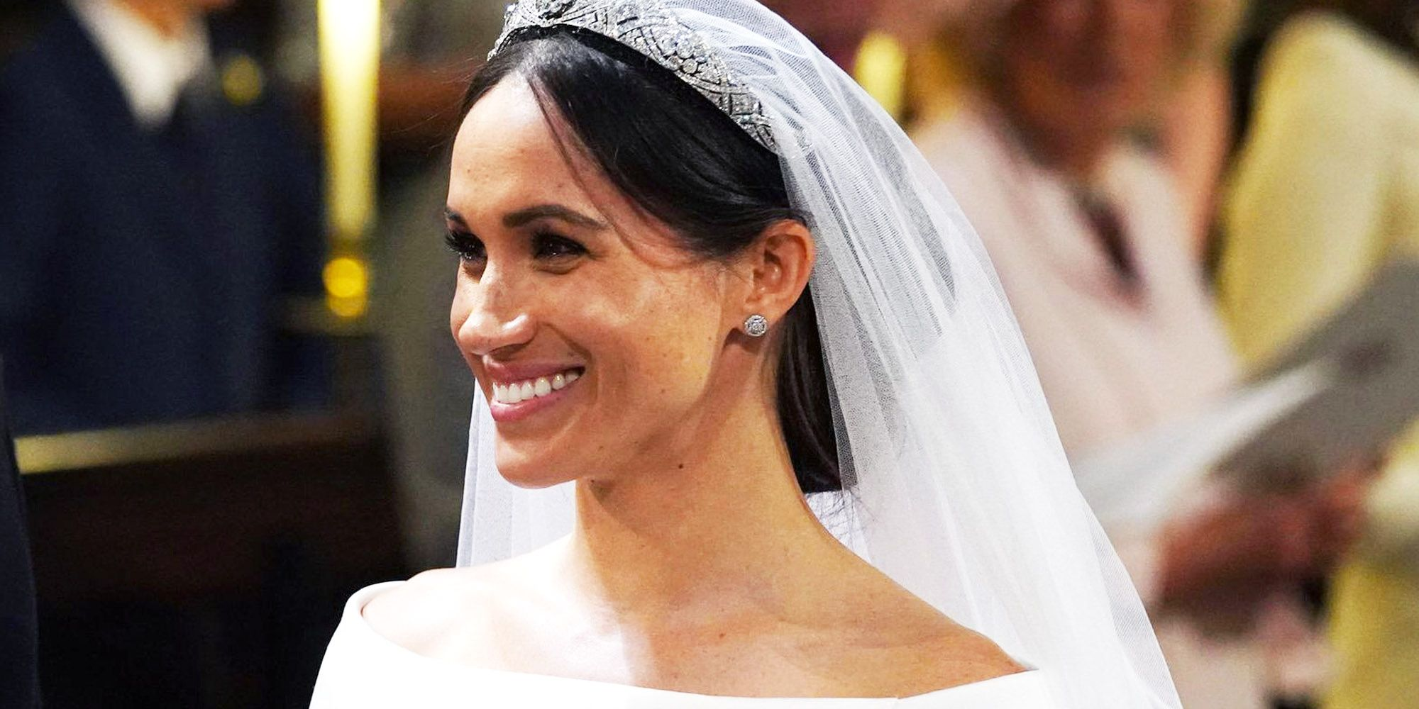 Meghan Markle Accessorizes Her Wedding Dress with Cartier Diamonds