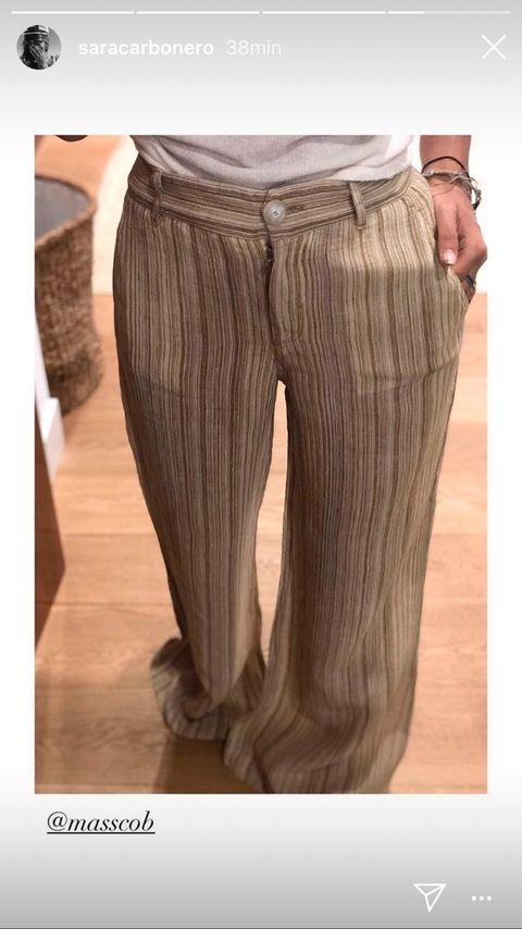 Sara Carbonero Con Pantalones Anchos De Rayas De Firma Espanola