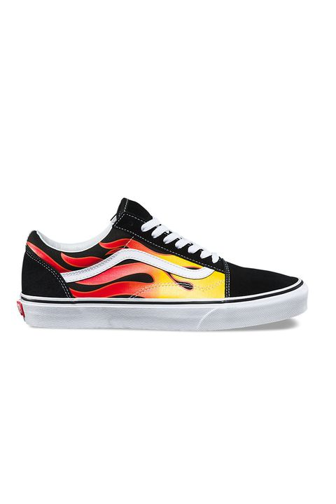 Shoe, Footwear, Sneakers, Black, Skate shoe, Orange, Yellow, Outdoor shoe, Walking shoe, Athletic shoe,