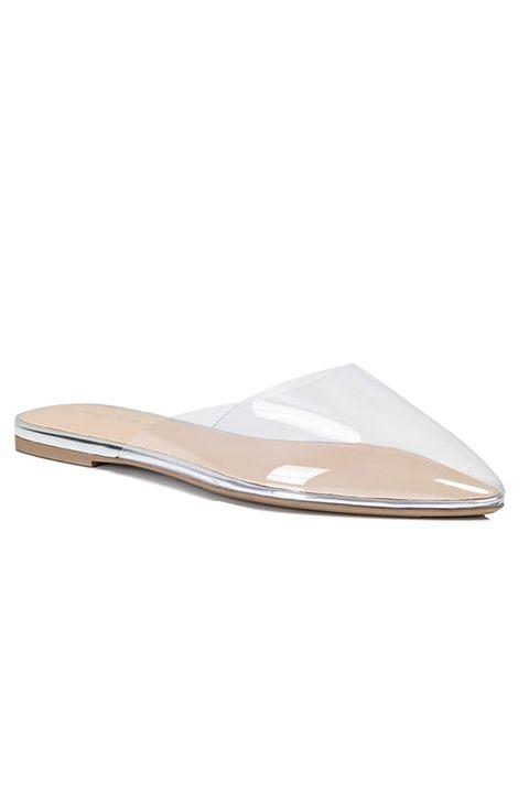 Footwear, Beige, Shoe, Slingback, Leather, Metal, Longboard,