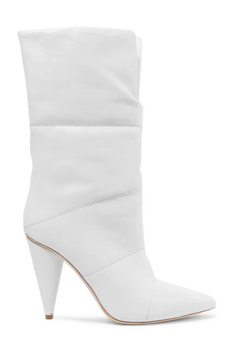 Footwear, White, Shoe, High heels, Boot, Leather, Beige, Leg, Suede,