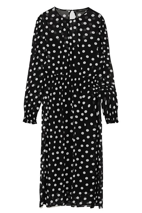 Clothing, Pattern, Black, Polka dot, Day dress, Sleeve, Dress, Design, Outerwear, Cover-up,