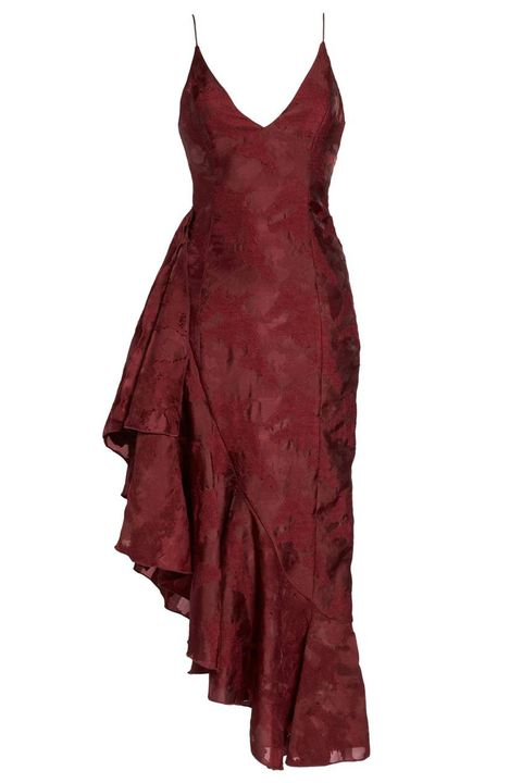 Clothing, Dress, Day dress, Cocktail dress, Maroon, One-piece garment, Satin, Gown, Textile, Formal wear,
